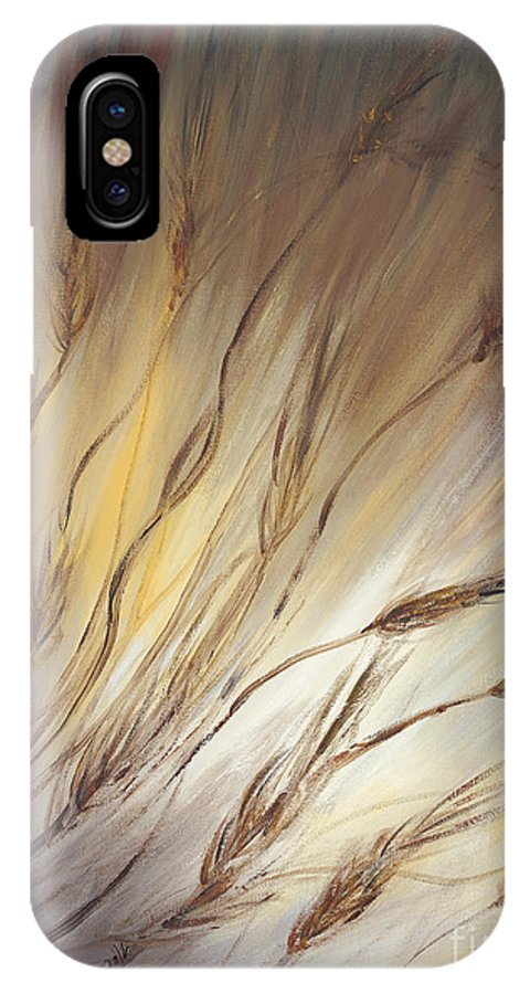 Wheat IPhone X Case featuring the painting Wheat In The Wind by Nadine Rippelmeyer