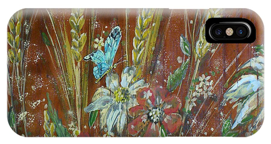 Flowers IPhone X / XS Case featuring the painting Wheat 'n' Wildflowers I by Phyllis Mae Richardson Fisher