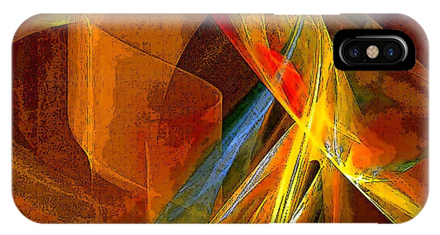 Abstract IPhone Case featuring the digital art When Paths Cross by Ruth Palmer