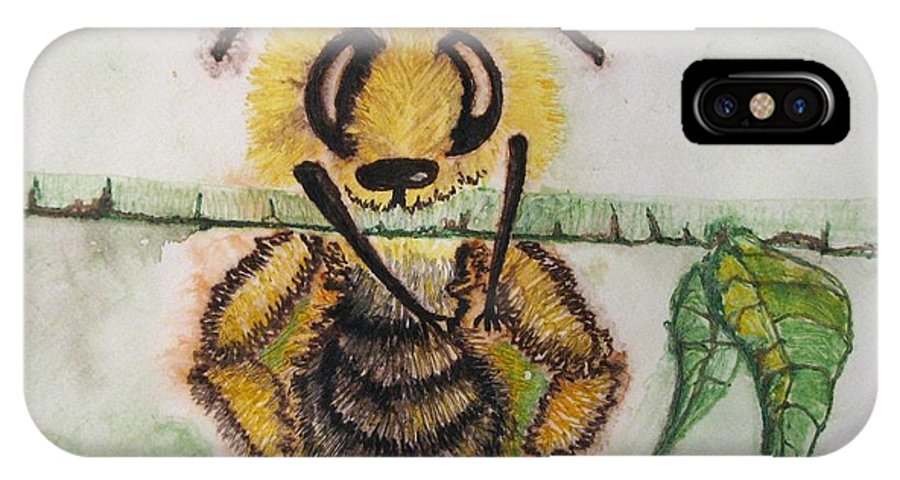 Bumblebees IPhone X Case featuring the painting Where Am I by Patricia Arroyo