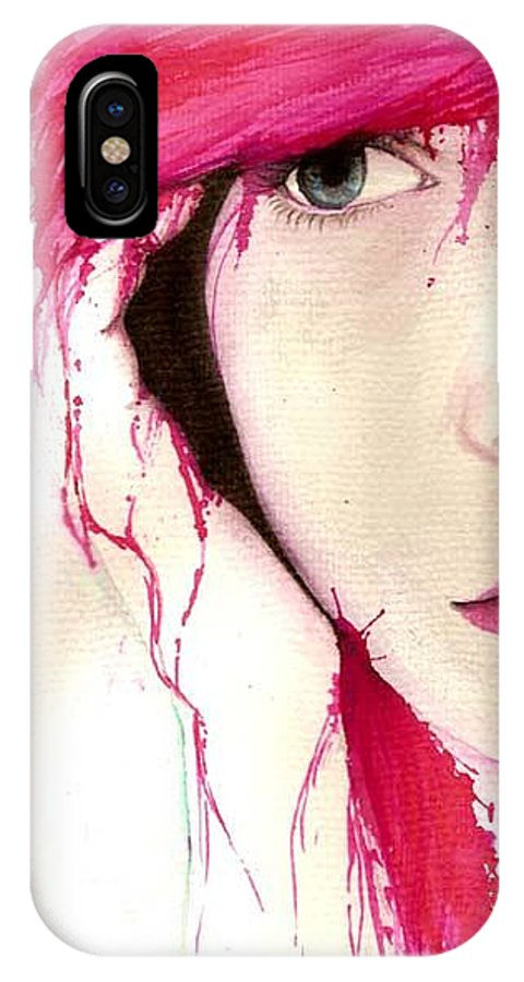 Pink Girl IPhone Case featuring the drawing Where Do You Think Beauty Goes by Freja Friborg