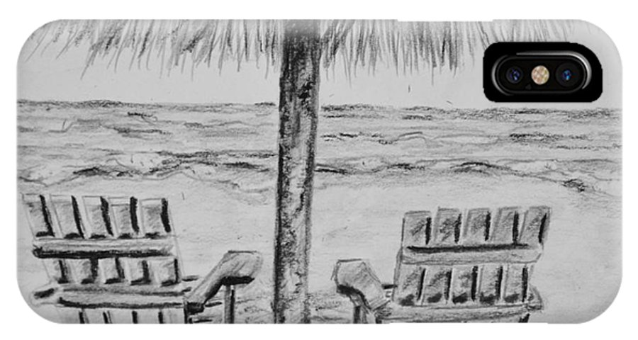 Ocean Adirondack Chairs IPhone X Case featuring the drawing Where I Want to Be by Regan J Smith