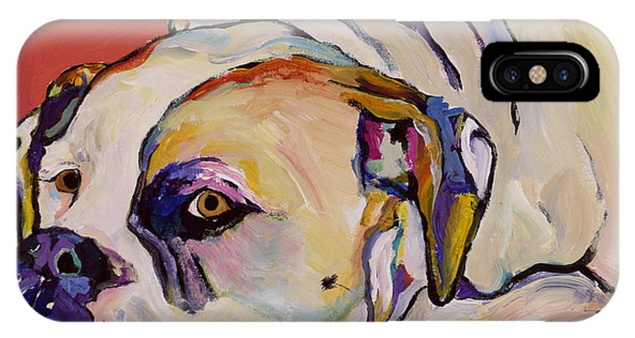 American Bulldog IPhone X Case featuring the painting Where Is My Dinner by Pat Saunders-White