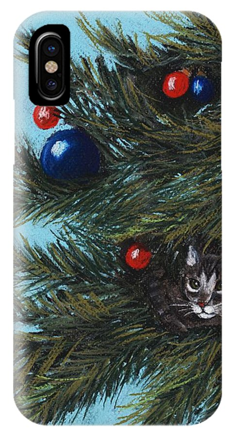 Cat IPhone X Case featuring the pastel Where Is Santa by Anastasiya Malakhova