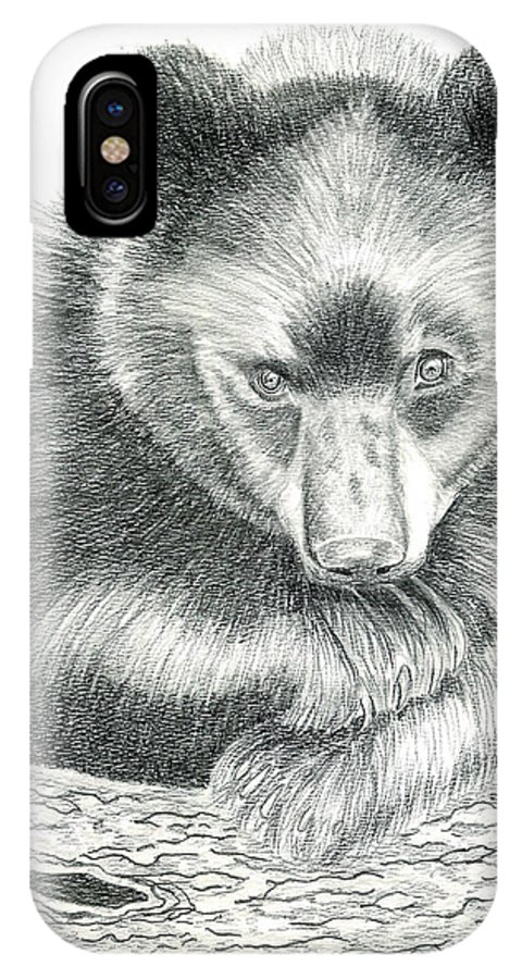 Black Bear IPhone X Case featuring the drawing Where by Joette Snyder