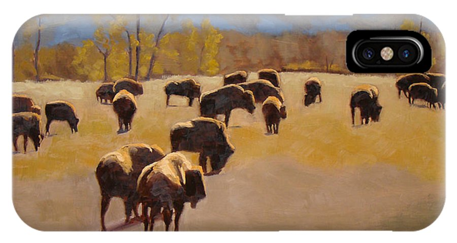 Buffalo IPhone X Case featuring the painting Where The Buffalo Roam by Tate Hamilton
