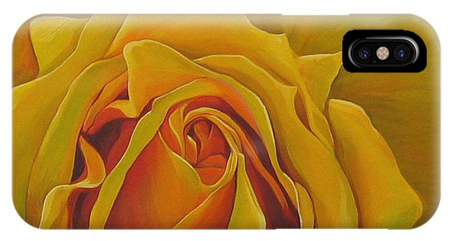 Yellow Rose IPhone X Case featuring the painting Where The Rose Is Sown by Hunter Jay