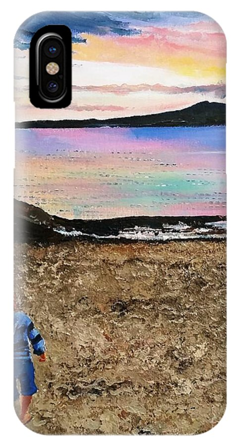Seascape IPhone X Case featuring the painting While Sunset Glow Fades , Tempest Roams In The Pathless Sky While Sunset Glow Fades by Eli Gross