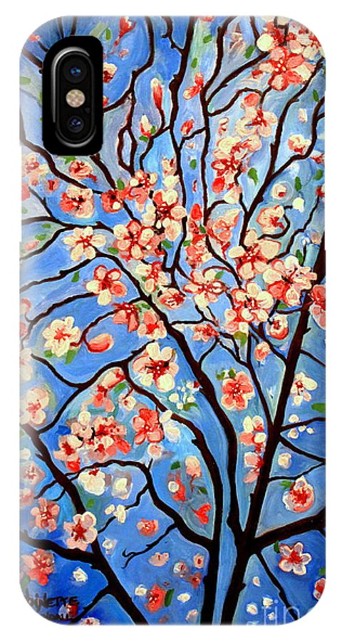Cherry Blossoms IPhone X Case featuring the painting Whimsical by Elizabeth Robinette Tyndall