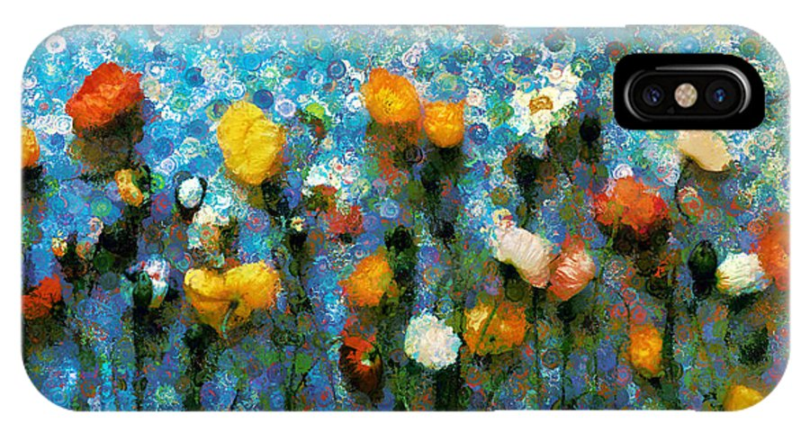 Whimsical Poppies On The Blue Wall IPhone X Case featuring the mixed media Whimsical Poppies On The Blue Wall by Georgiana Romanovna