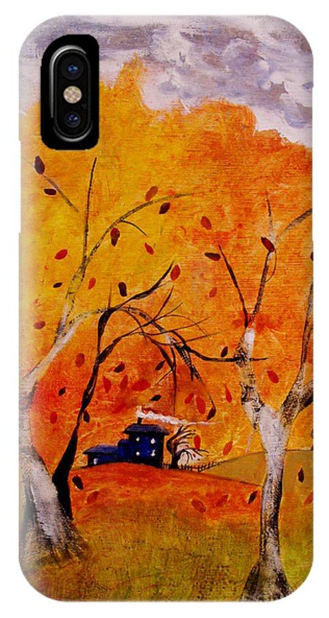 Abstract IPhone X Case featuring the painting Whimsical Wind by Ruth Palmer