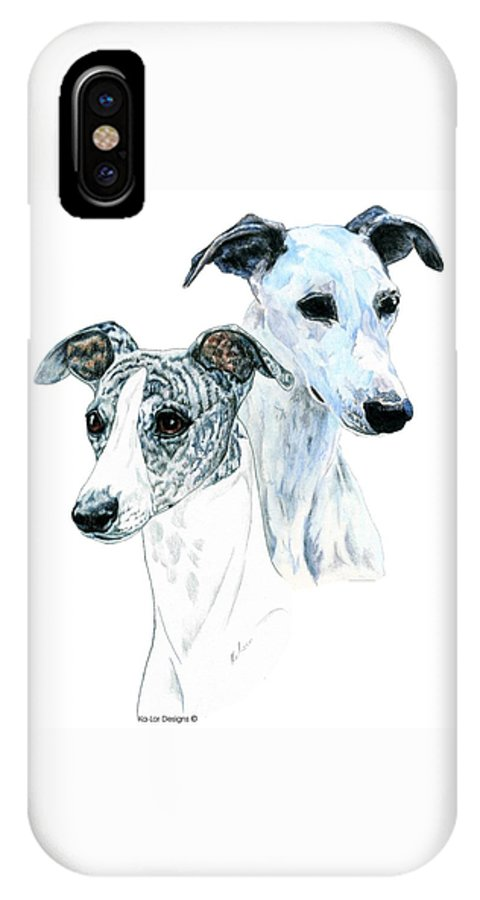 Whippet IPhone X / XS Case featuring the painting Whippet Pair by Kathleen Sepulveda