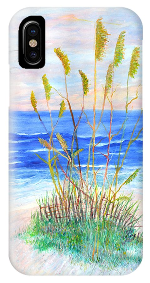 Sea Oats IPhone X Case featuring the painting Whispering Sea Oats by Ben Kiger
