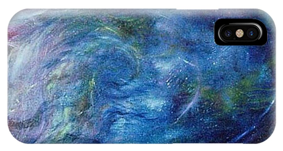 Abstract IPhone X / XS Case featuring the painting Whispers In A Sea Of Blue by Nancy Mueller