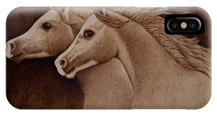 Pyrography; Woodburning; Sepia; Horses; Horse Head; Wind; Equestrian IPhone X Case featuring the pyrography Whispers by Jo Schwartz