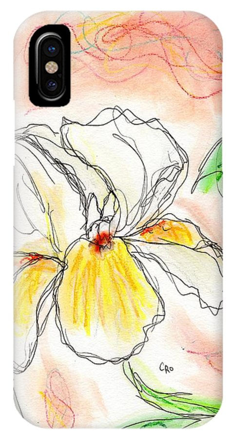 Iris IPhone X Case featuring the painting White And Yellow Iris by Christopher O'Kelley