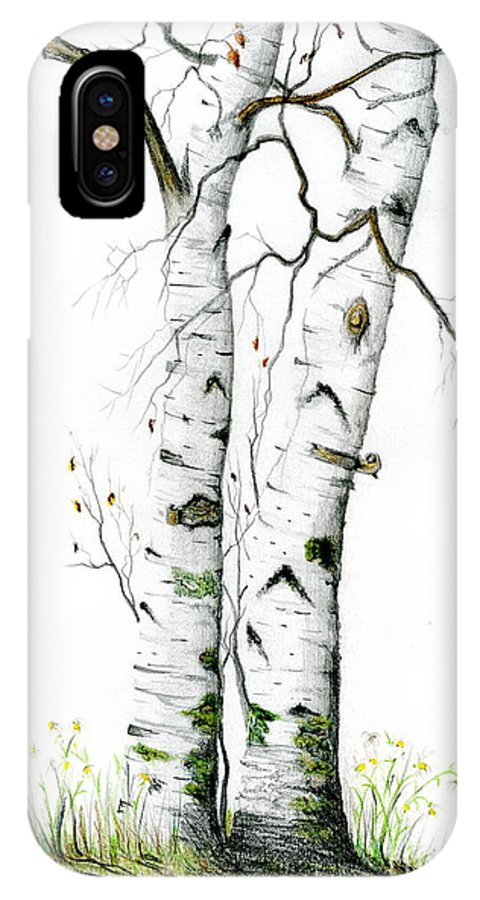 White Birch IPhone X Case featuring the painting White Birch by Mary Tuomi