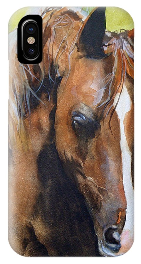 Horse IPhone X Case featuring the painting White Blaze by Jean Blackmer
