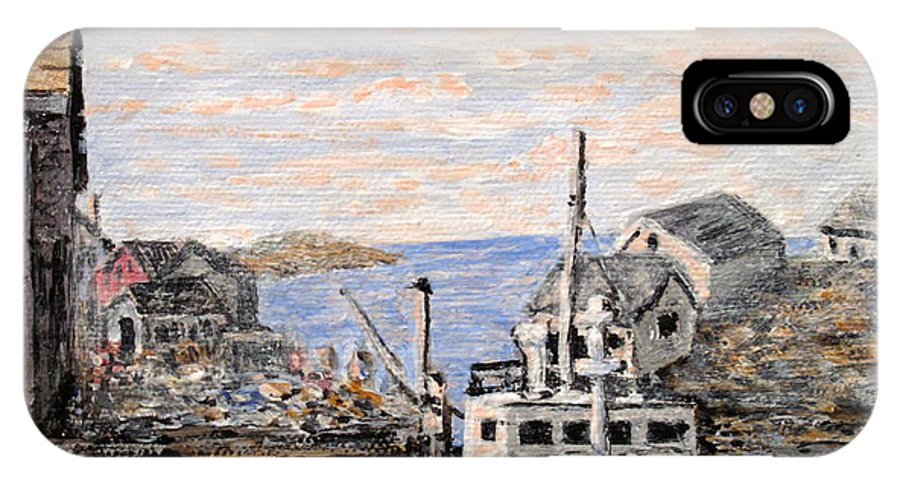 White IPhone X Case featuring the painting White Boat In Peggys Cove Nova Scotia by Ian MacDonald