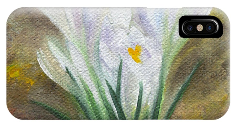 Bulbs IPhone X Case featuring the painting White Crocus by FT McKinstry