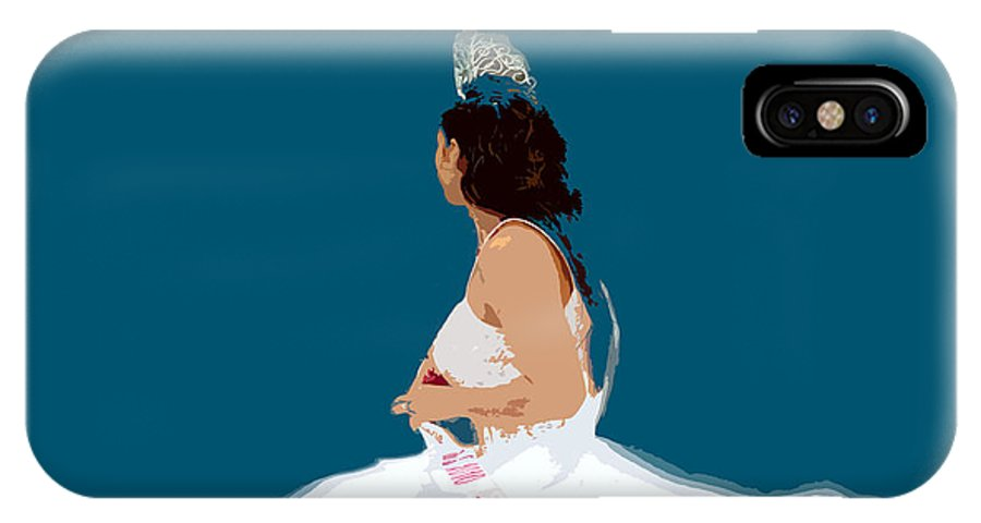 Beauty Queen IPhone X Case featuring the painting White Dress Blue Sky by David Lee Thompson