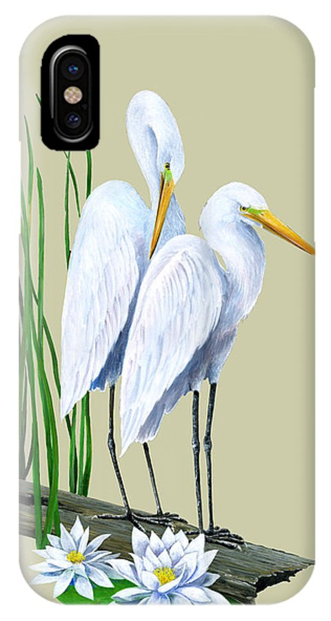 Egret IPhone X Case featuring the painting White Egrets And White Lillies by Kevin Brant