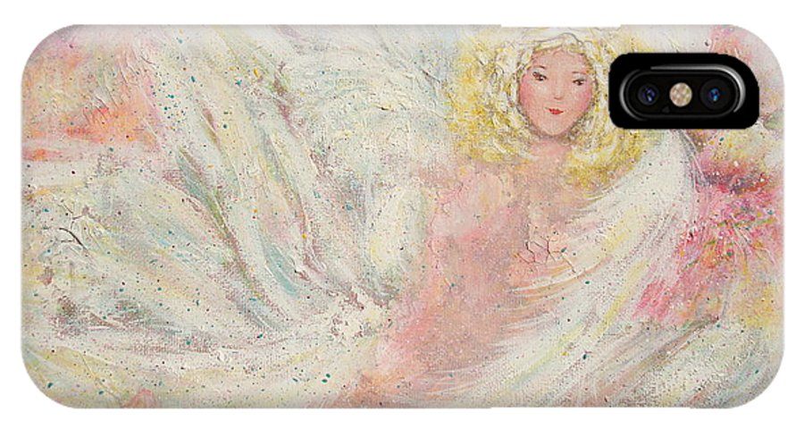 Angel IPhone X Case featuring the painting White Feathers Secret Garden Angel 4 by Natalie Holland