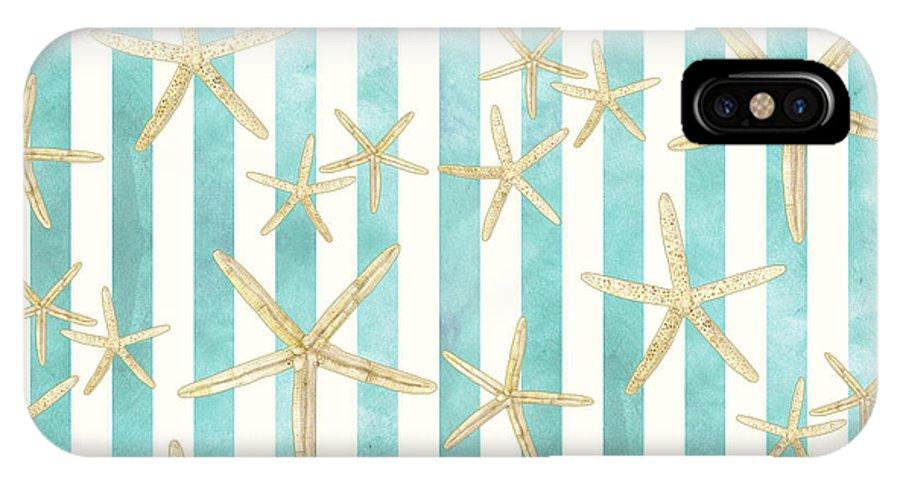 Watercolor IPhone X Case featuring the painting White Finger Starfish Watercolor Stripe Pattern by Audrey Jeanne Roberts