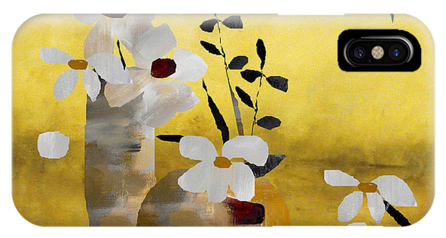 Abstract IPhone X Case featuring the painting White Floral Collage II by Ruth Palmer