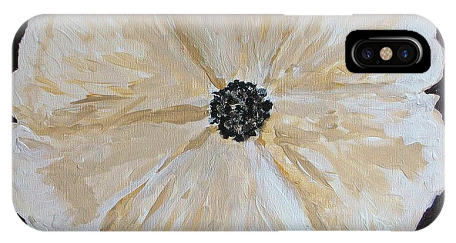 Flower IPhone X Case featuring the painting White Flower On Black by Marsha Heiken