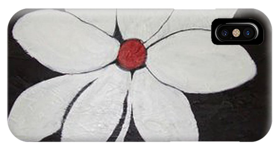 Contemporay IPhone Case featuring the painting White Flower by Rusty Gladdish