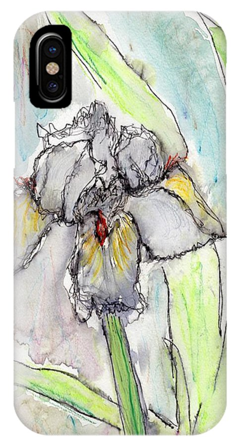 Iris IPhone X Case featuring the painting White Iris by Christopher O'Kelley