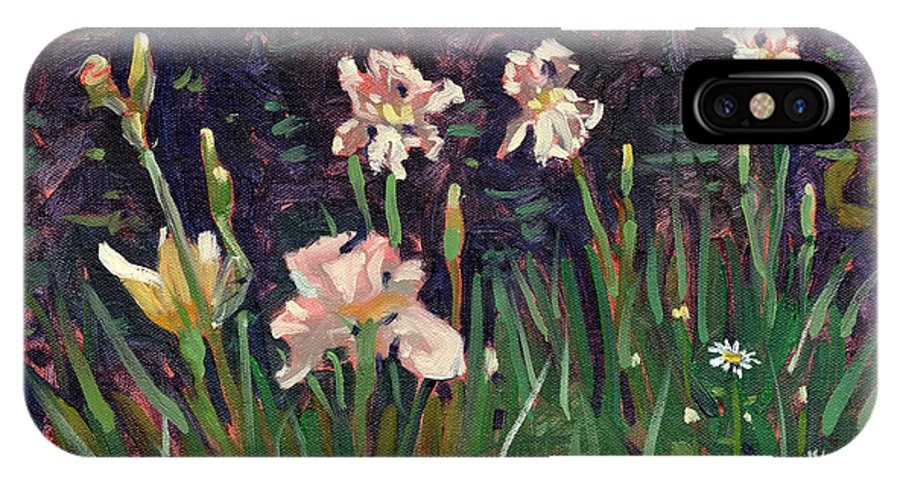 Plein Air IPhone X Case featuring the painting White Irises by Donald Maier