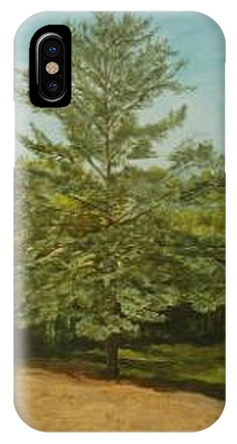 Pine Tree IPhone X Case featuring the painting White Lake by Leah Tomaino