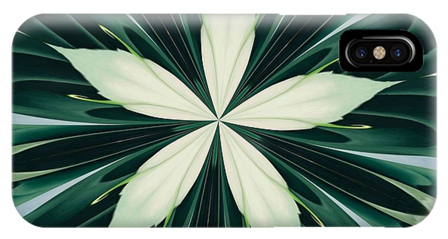 Mandala IPhone X Case featuring the digital art White Leaves In A Green Forest Kaleidoscope by Taiche Acrylic Art