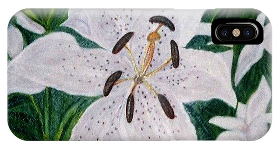 Florals Lillies IPhone Case featuring the painting White Lillies by Brenda L Spencer