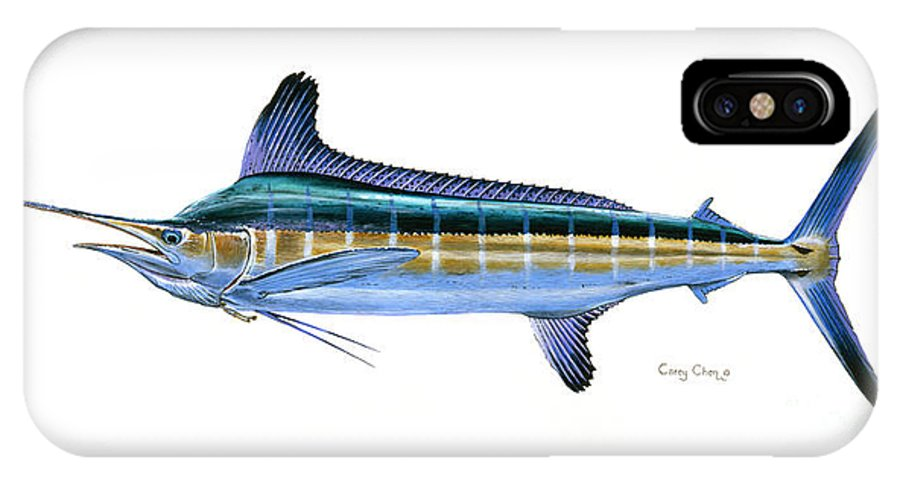 White Marlin IPhone X Case featuring the painting White Marlin by Carey Chen