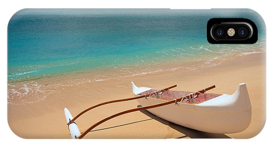 Afternoon IPhone X Case featuring the photograph White Outrigger Canoe by Dana Edmunds - Printscapes