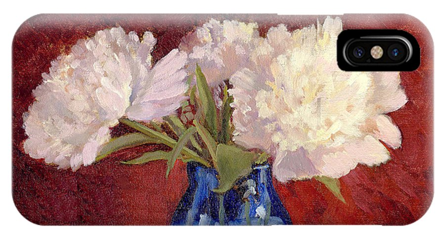 Peonies IPhone X Case featuring the painting White Peonies by Keith Burgess