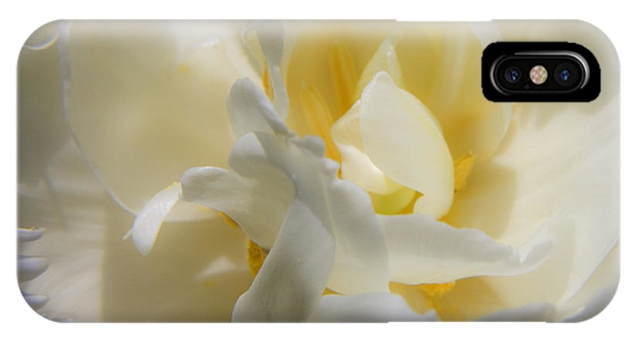 White IPhone X Case featuring the photograph White Peony Tulip Detail by Teresa Mucha