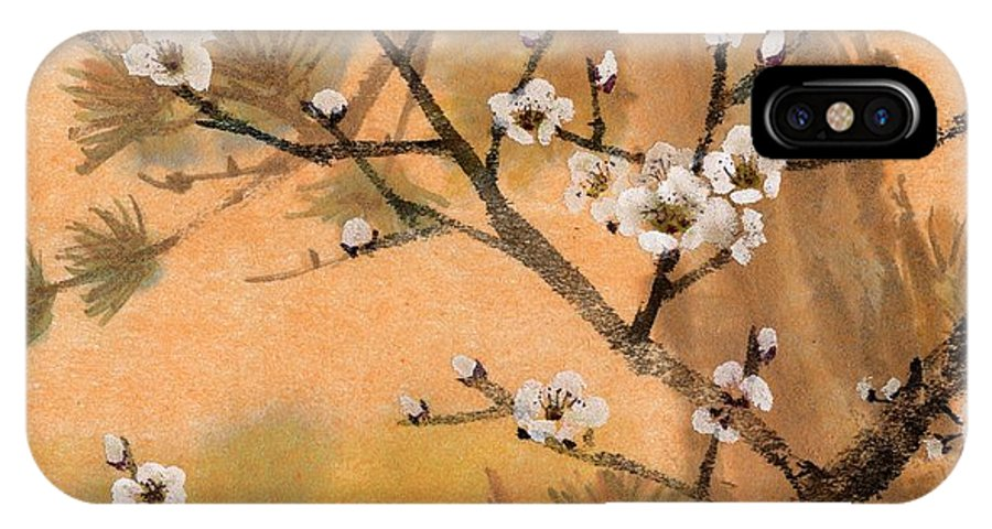White Plum Blossoms IPhone X Case featuring the painting White Plum Blossoms With Pine Tree by Eileen Fong