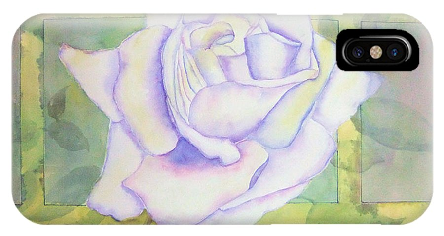 Watercolor IPhone X Case featuring the painting White Rose by Debbie Lewis