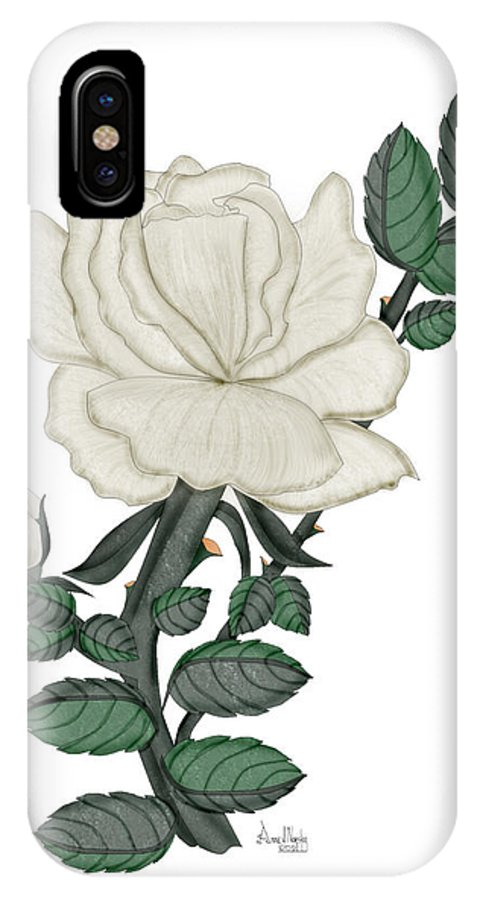 White Rose IPhone X Case featuring the painting White Rose on a Winter Day by Anne Norskog