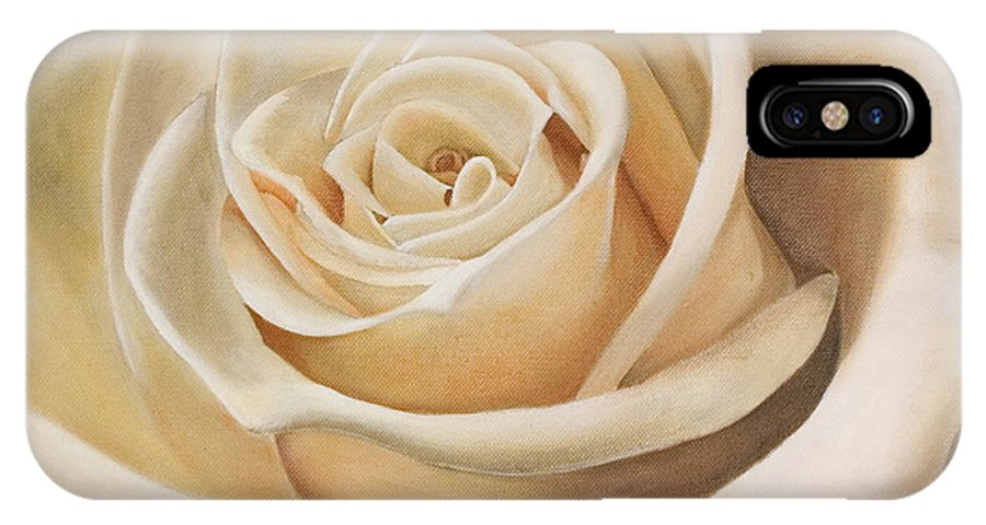 Flower IPhone X Case featuring the painting White Rose by Rob De Vries