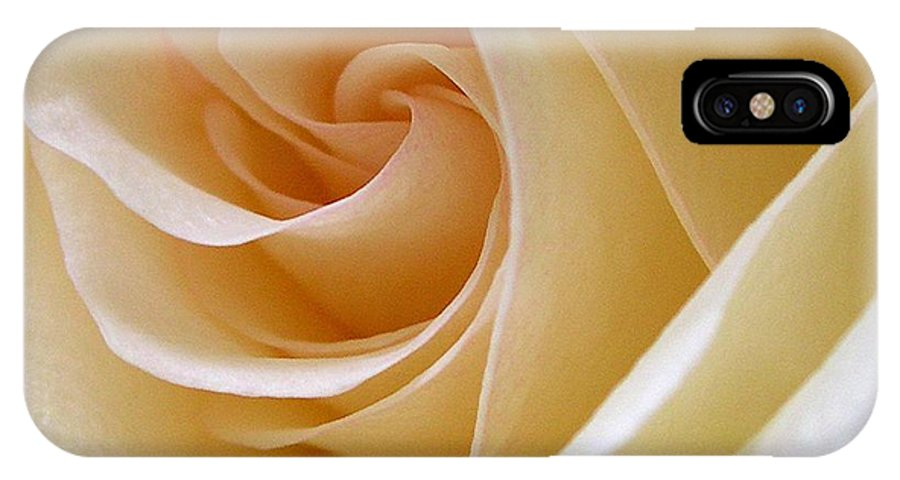 Rose IPhone X Case featuring the photograph White Rosebud by Addie Hocynec