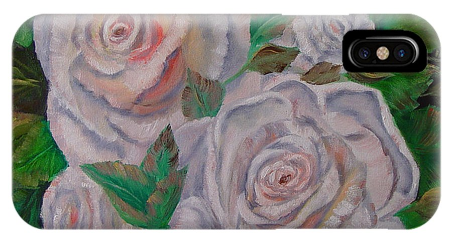 Roses IPhone Case featuring the painting White Roses by Quwatha Valentine
