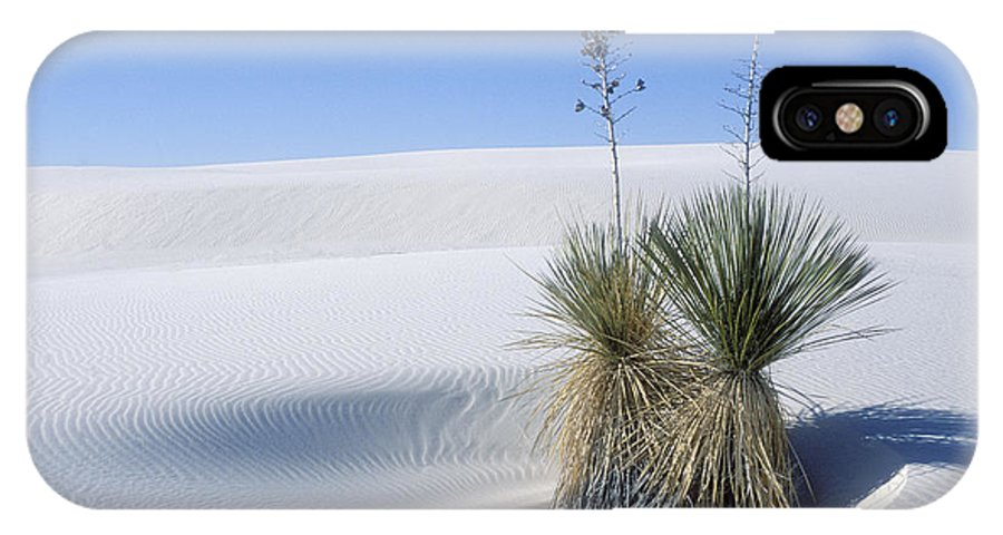 White Sands IPhone X Case featuring the photograph White Sands Dune And Yuccas by Sandra Bronstein