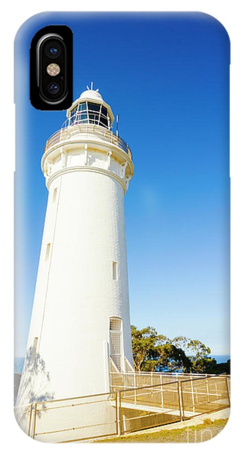 Lighthouse IPhone X Case featuring the photograph White Seaside Tower by Jorgo Photography - Wall Art Gallery