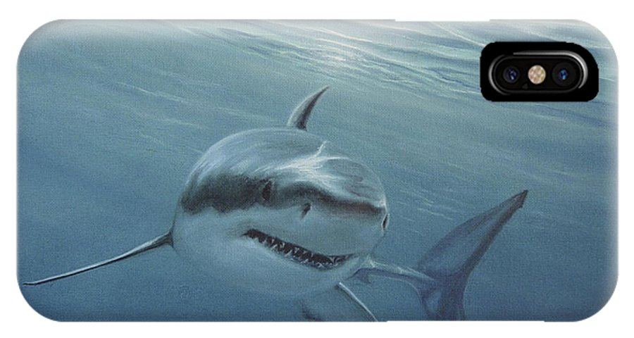 Shark IPhone X Case featuring the painting White Shark by Angel Ortiz