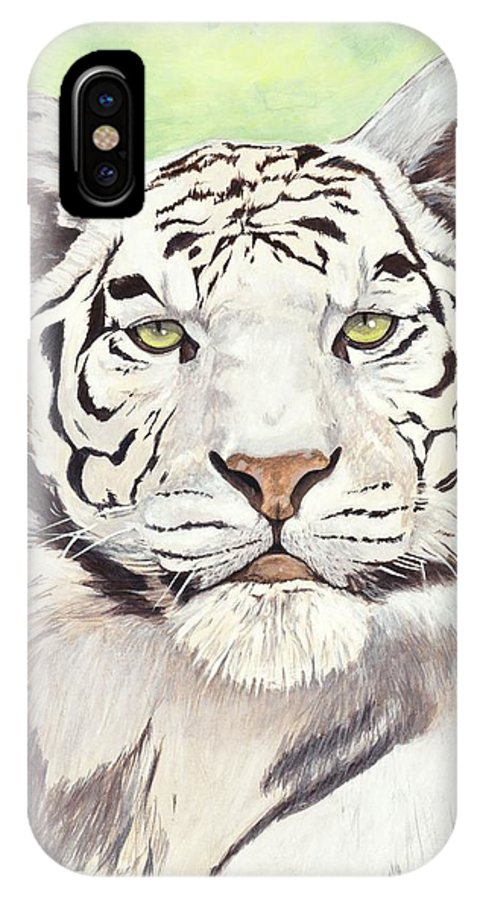 Tiger IPhone X Case featuring the painting White Silence by Shawn Stallings